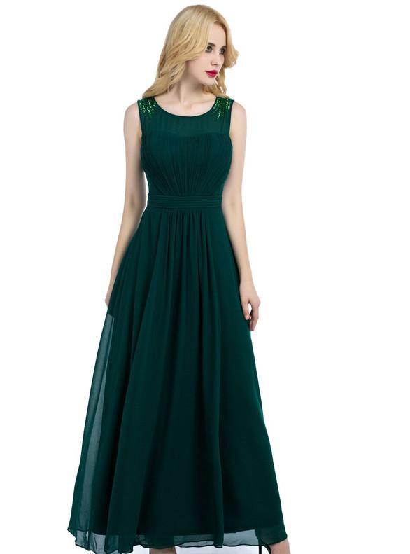 Green Chiffon Pleats Sequins Bridesmaid Dress