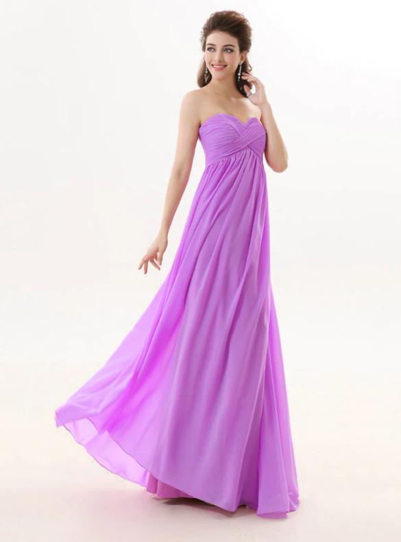 Purple Chiffon High Waist Pleats Bridesmaid Dress