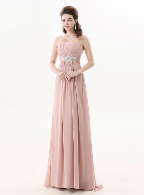 Pink Chiffon Strapless Pleats Bridesmaid Dress
