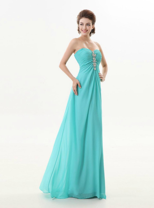 Blue Chiffon Strapless Beading Bridesmaid Dress
