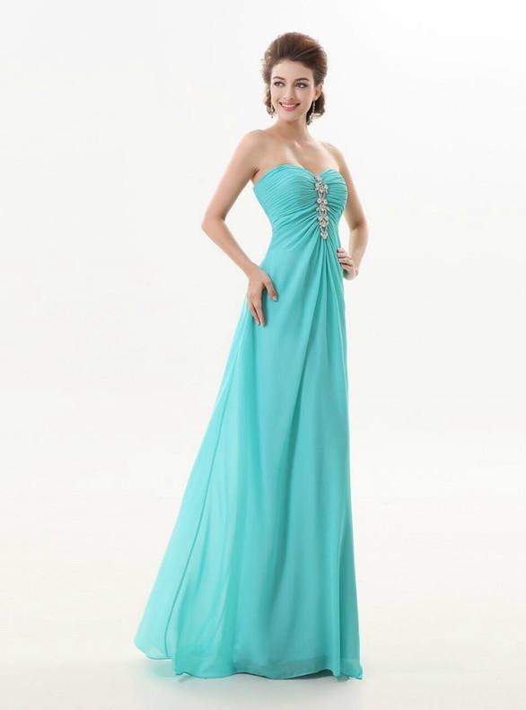 Blue Chiffon Strapless Beading Bridesmaid Dress