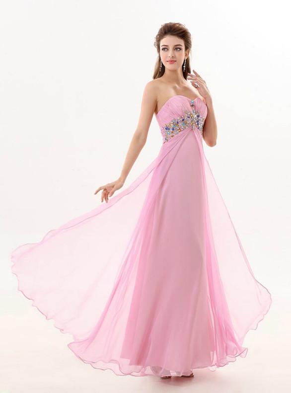 Pink Chiffon Strapless Crystal Bridesmaid Dress