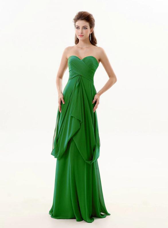 Green Chiffon Sweetheart Pleats Long Bridesmaid Dress