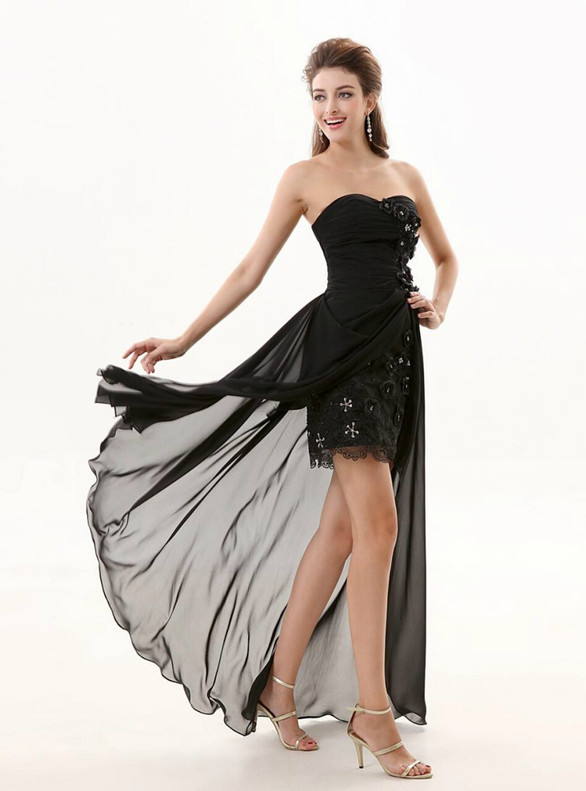 Black Chiffon Strapless Hi Lo Bridesmaid Dress