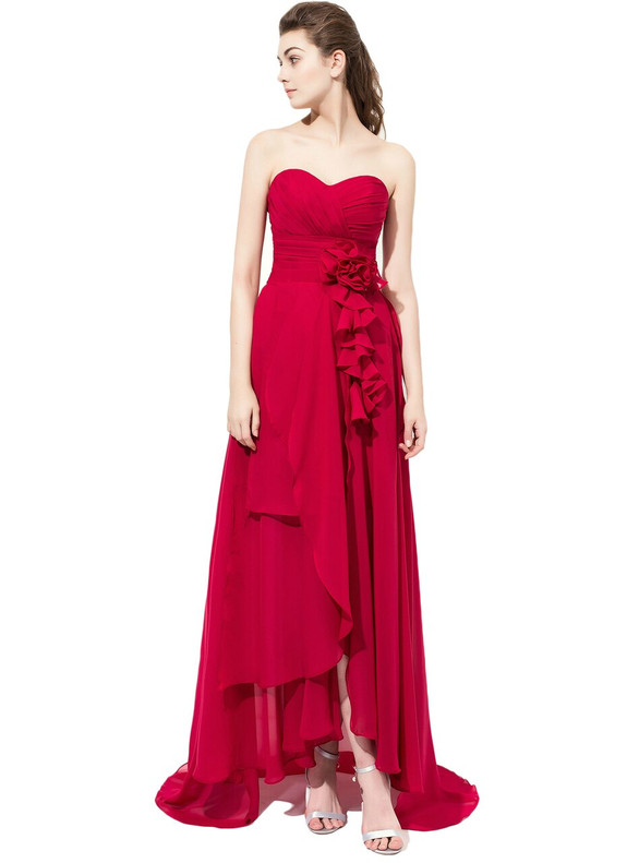 Red High Low Chiffon Pleats Flower Bridesmaid Dress