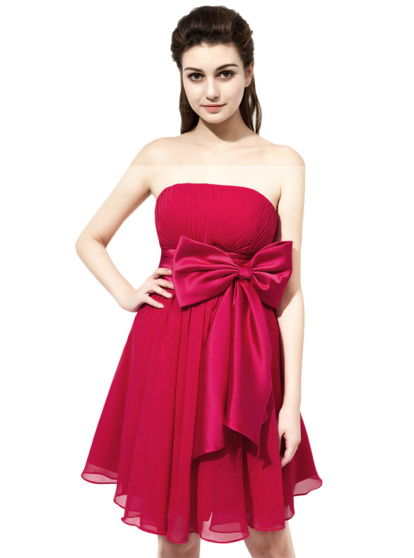 Red Chiffon Short Pleats Bridesmaid Dress