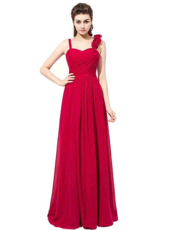 Red Chiffon Pleats Hand Flower Bridesmaid Dress