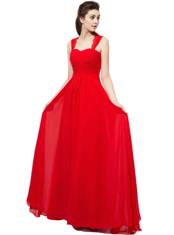Red Chiffon Pleats Long Bridesmaid Dress