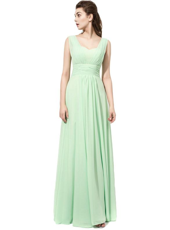 Light Green Chiffon Pleats Bridesmaid Dress