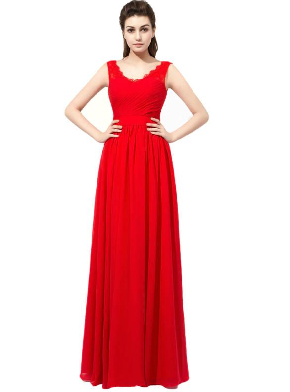 Red Chiffon V-neck Pleats Long Bridesmaid Dress
