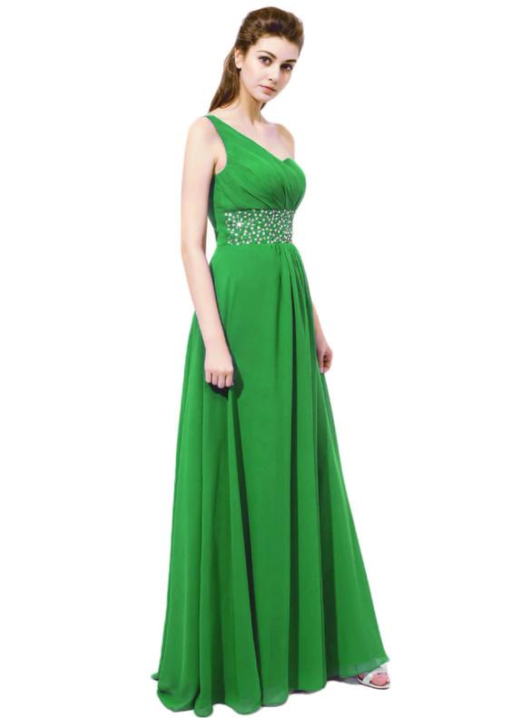 Green Chiffon One Shoulder Beading Bridesmaid Dresses