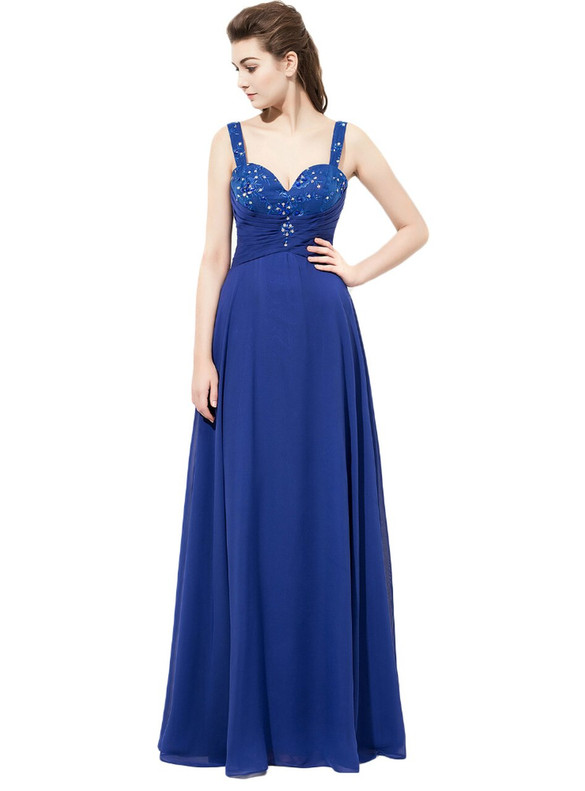 Chiffon Spaghetti Straps Beading Bridesmaid Dress