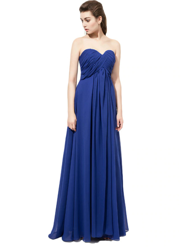Royal Blue Chiffon High Waist Pleats Bridesmaid Dress