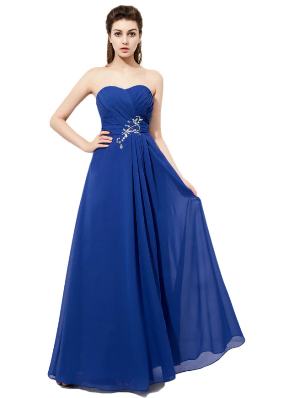 Chiffon Strapless Pleats Beading Blue Bridesmaid Dress