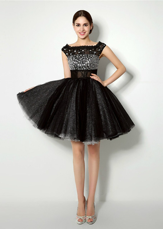 Black Tulle Crystal Knee Length Homecoming Dress