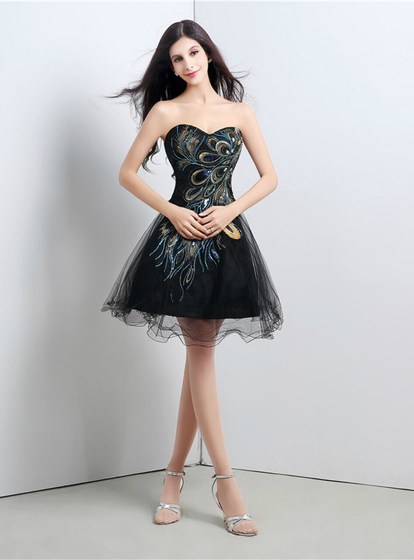 Black Tulle Crystal Strapless Homecoming Dress