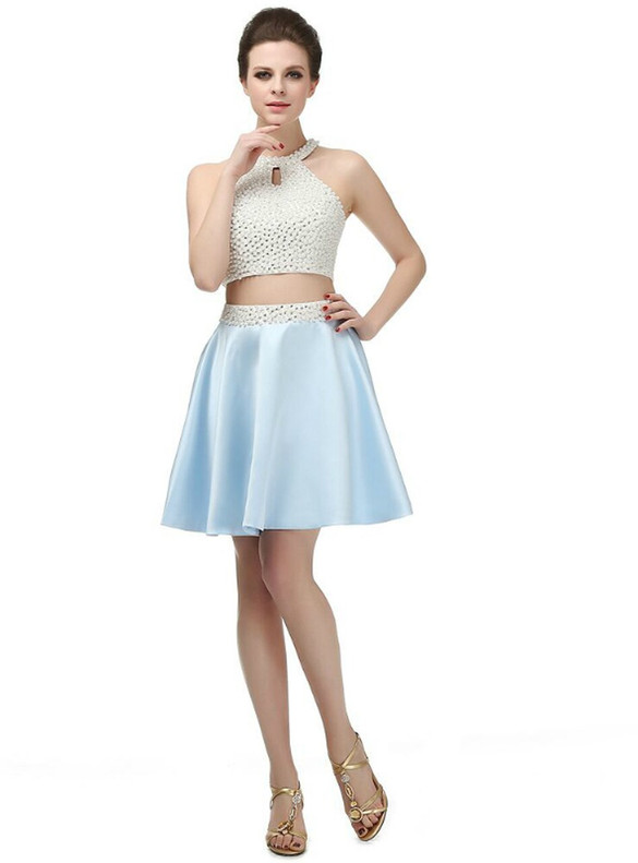 Satin Two Piece Halter Pearls Homecoming Dress