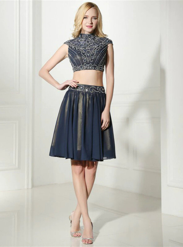 Navy Blue Chiffon High neck Two Piece Homecoming Dress
