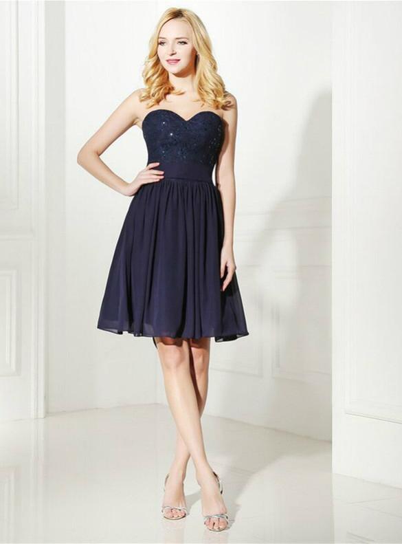Navy Blue Chiffon Lace Beading Homecoming Dress