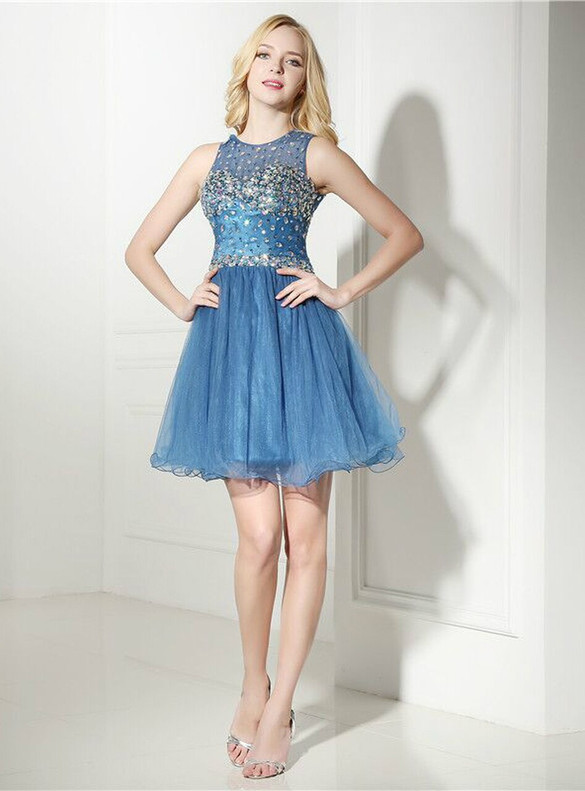 Blue Tulle Backless Beading Homecoming Dress