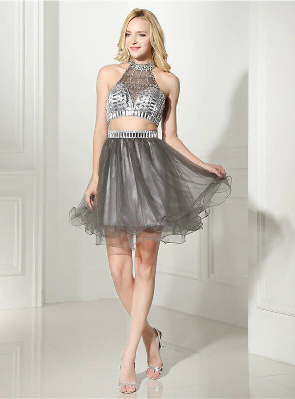 Gray Tulle Two Piece Beading Crystal Homecoming Dress