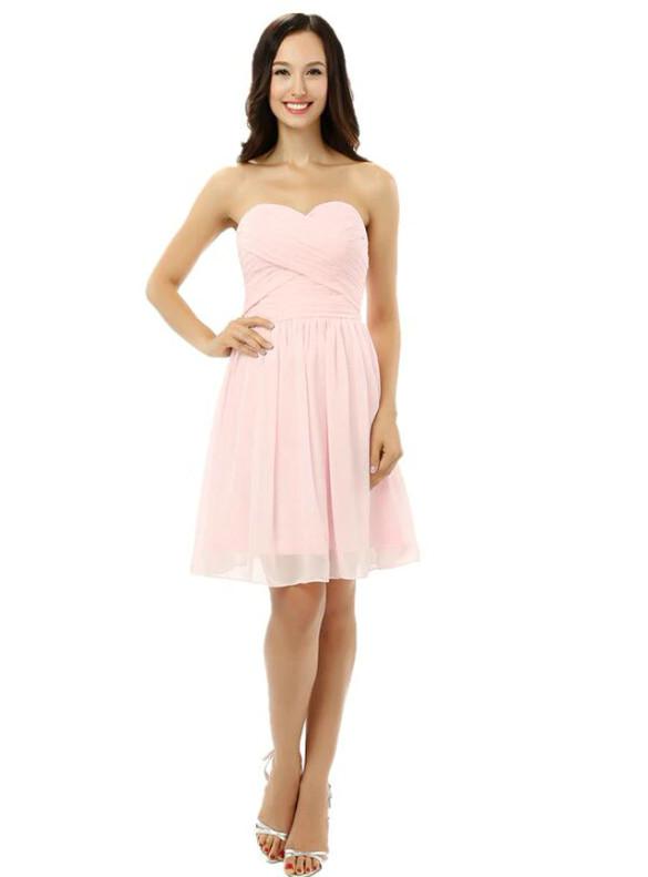 Pink Chiffon Pleats Strapless Homecoming Dress