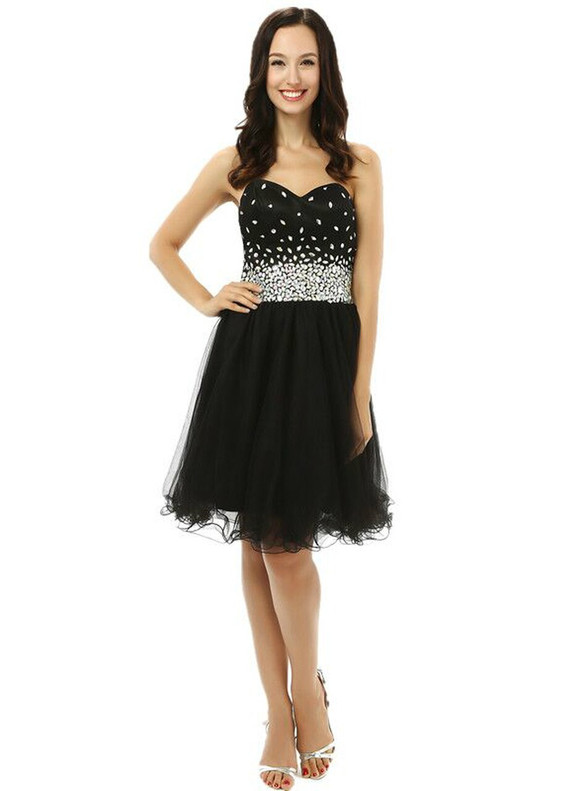Black Tulle Sweetheart Crystal Homecoming Dress