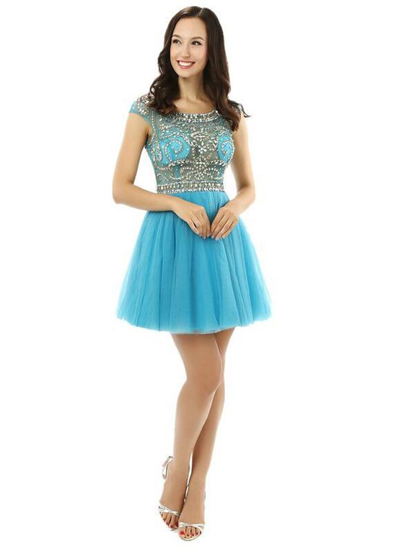 Blue Tulle Illusion Beading Homecoming Dress