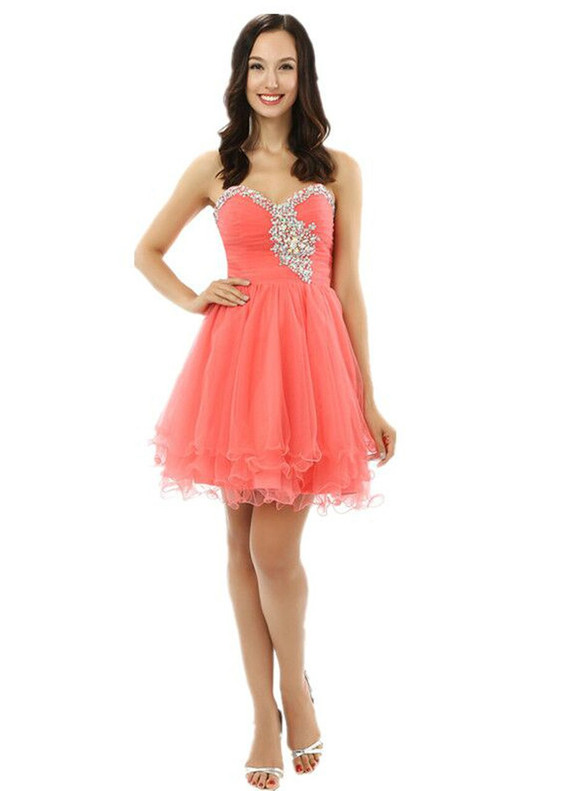Watermelon Red Tulle Pleats Beading Homecoming Dress