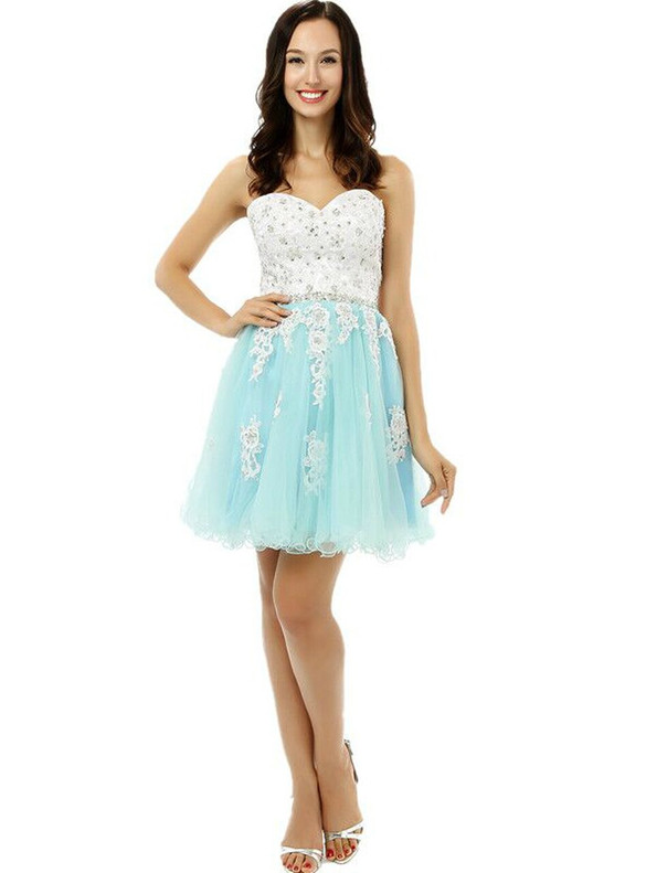 Light Blue Tulle Appliques Beading Homecoming Dress