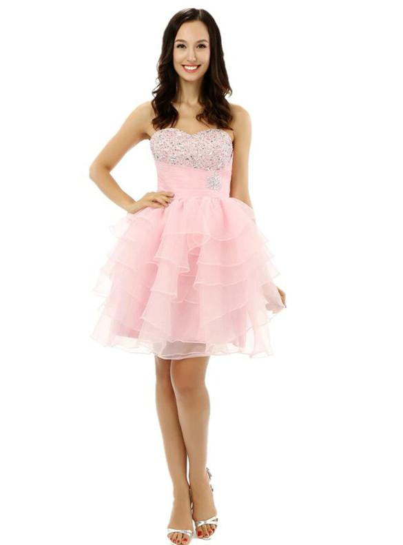 Light Pink Chiffon Beading Homecoming Dress
