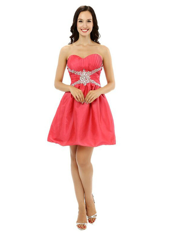 Red Satin Beading Crystal Homecoming Dress