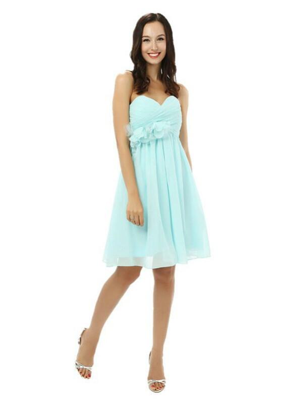 Blue Chiffon Pleats High Waist Homecoming Dress
