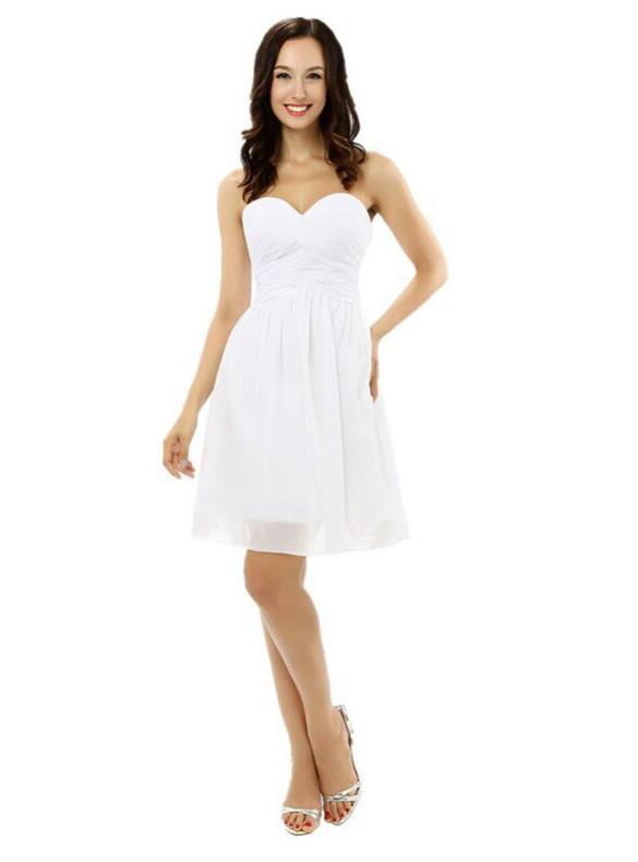 White Chiffon Pleats Sweetheart Homecoming Dress