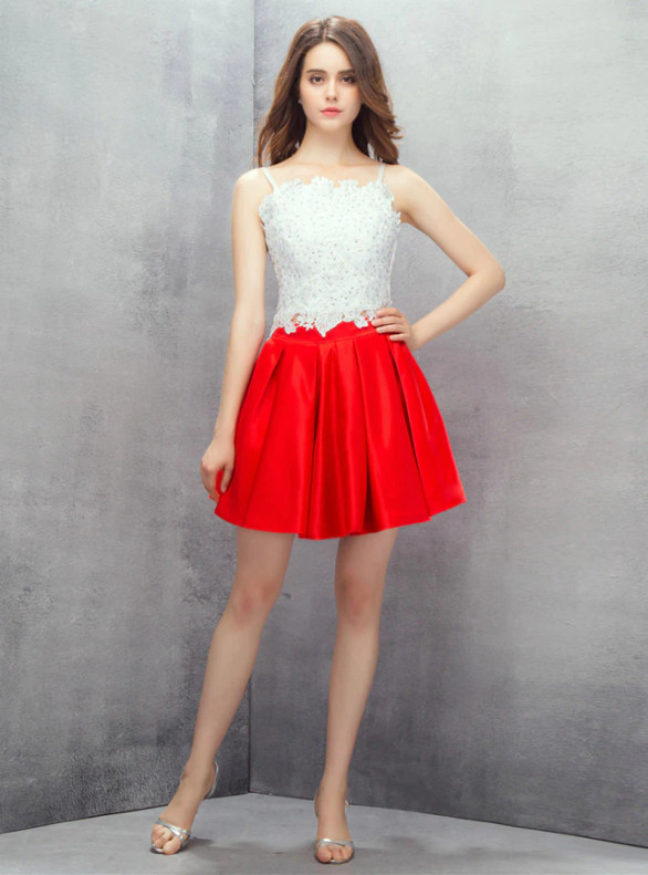White Lace Red Satin Two Piece Homecoming Dress