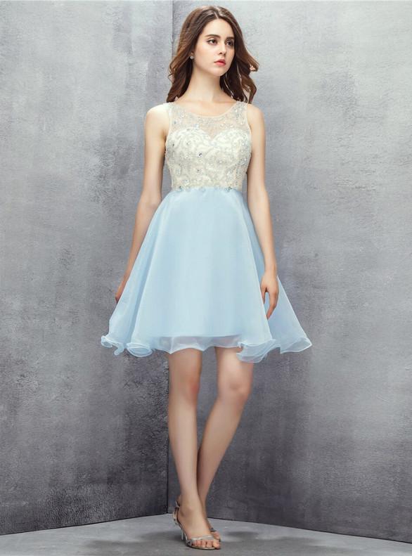 Light Blue Chiffon Backless Beading Homecoming Dress