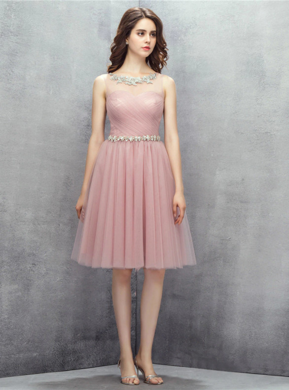 Pink Tulle Pleats Lace Homecoming Dress