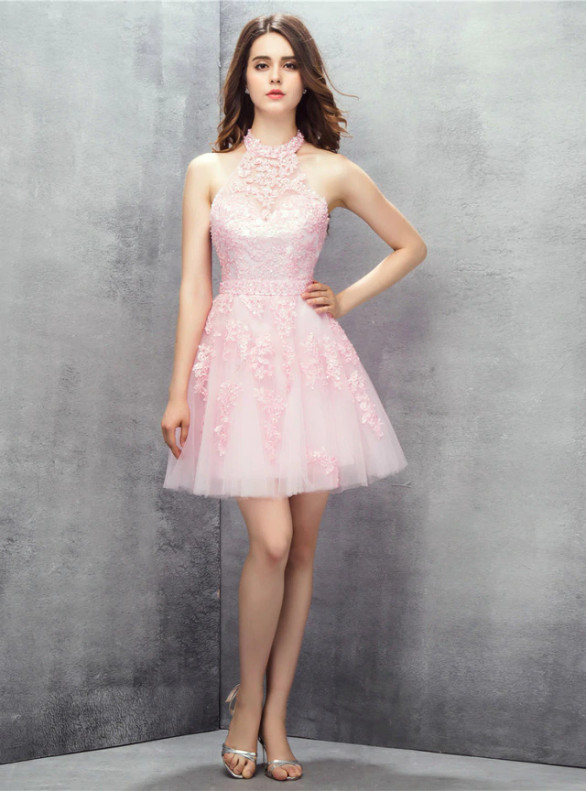 Pink Tulle Halter Backless Appliques Beading Homecoming Dress