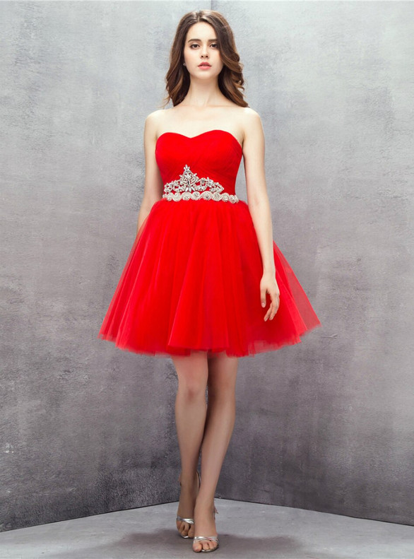 Red Tulle Pleats Beading Homecoming Dress