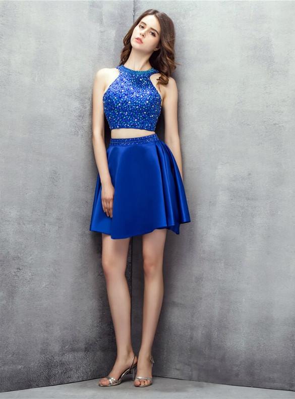 Royal Blue Tow Piece Satin Beading Homecoming Dress