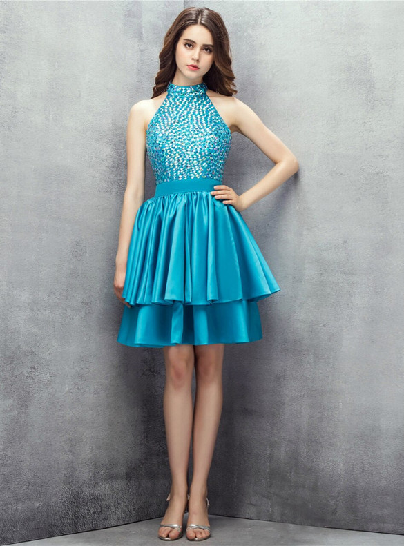 Blue Satin Crystal Halter Backless Homecoming Dress