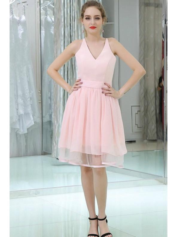 Pink Chiffon Lace Back V-neck Homecoming Dress