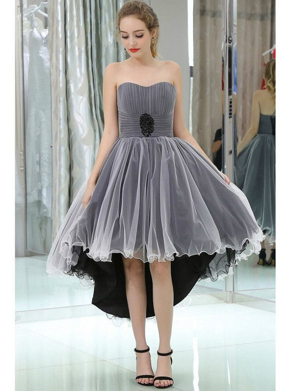 Black White Tulle Hi Lo Strapless Homecoming Dress