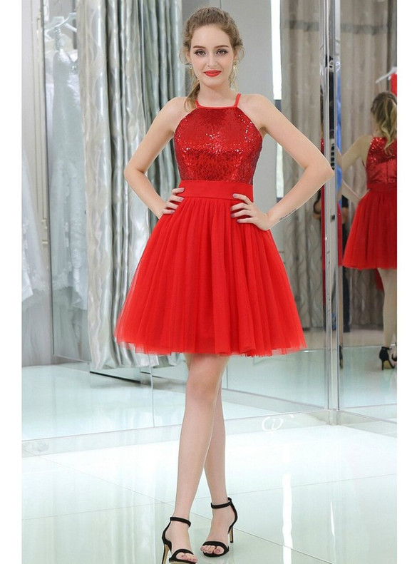Red Tulle Sequins Halter Homecoming Dress