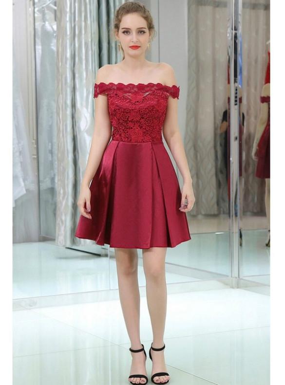 Burgundy Satin Lace Homecoming Dress