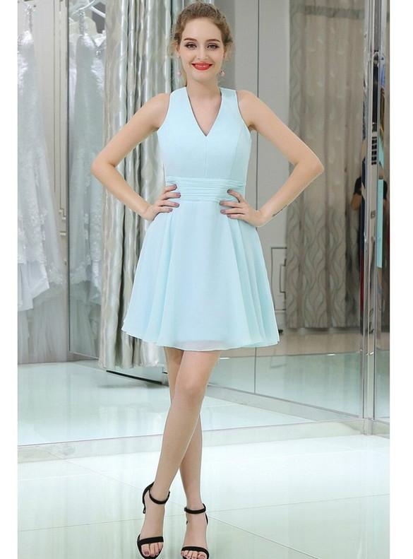 Blue Chiffon Pleats Backless Homecoming Dress