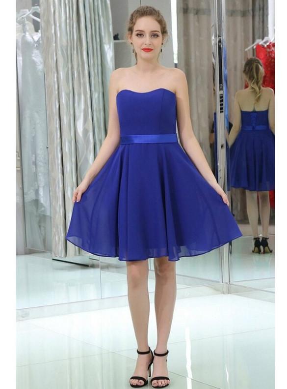 Blue Chiffon Strapless Homecoming Dress