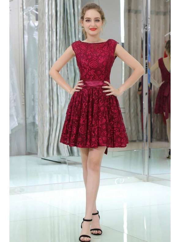 Simpe Burgundy Lace Homecoming Dress
