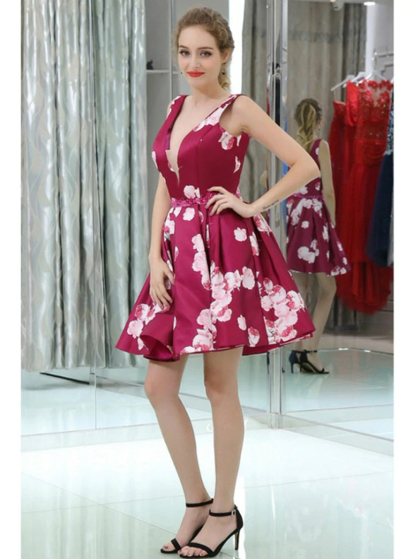 Burgundy Print Deep V-neck Homecoming Dress