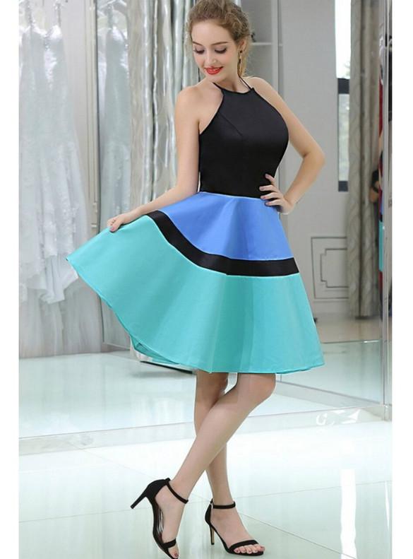 Colorful Satin Halter Homecoming Dress